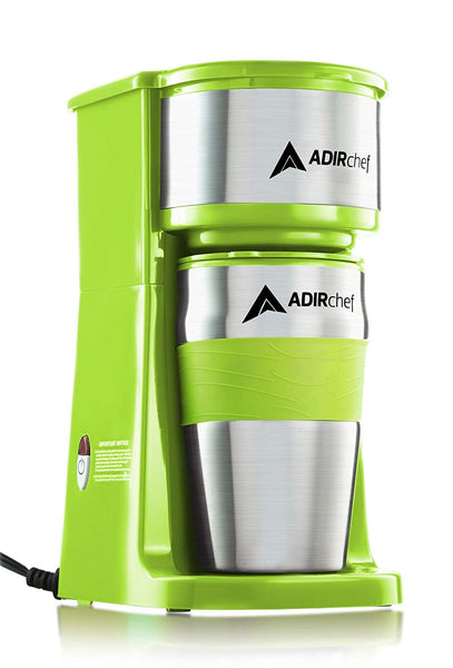 AdirChef Grab N' Go Personal Coffee Maker with 15 oz. Travel Mug (Sour Green)