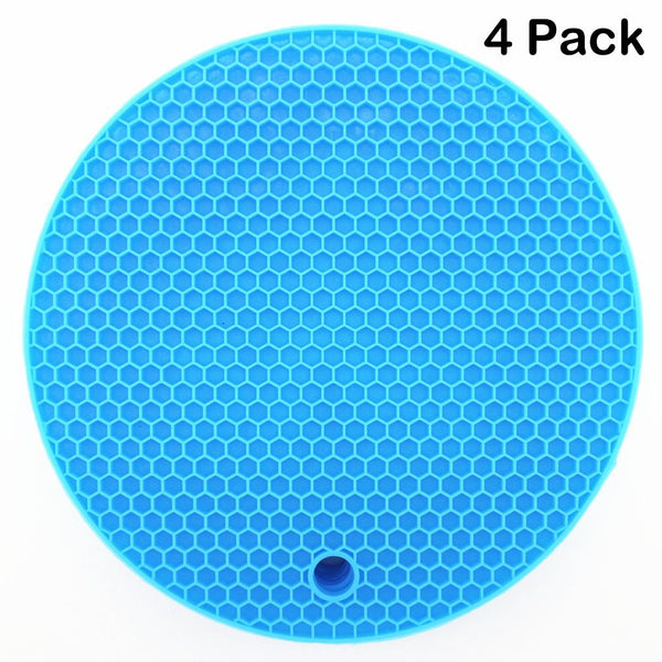 Lucky Plus Silicone Trivets Mat for Dish Hot Pads for Counter Top,Pan and Pot Heat Resistant Hot Protector Workshop,Coffee Mat or Placemats 4 Pack,Size:7x7 Inch, Color: Blue,Shape:Round
