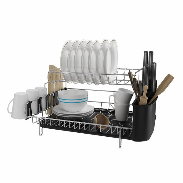 Ferty 308 Stainless Steel 2 Tier Dish Drying Drainer Rack with Microfiber Mat Kitchen Utensil Holder