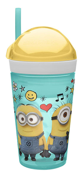Zak Designs Despicable Me ZakSnak All-In-One Drink Tumbler + Snack Container For Toddlers – Spill-proof 4oz Snack Container Screws Securely Onto 10oz Tumbler With Accessible Straw, Despicable Me