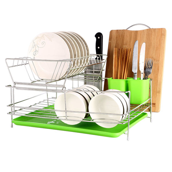 okdeals 2 Tier Stainless Steel Dish Drying Rack with Tray,Enamel Utensil Holder,Plates Organizer Drainer with Removable Utensil Cup for Kitchen Counter