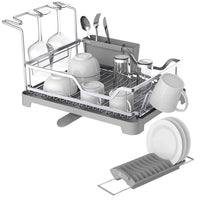 Aluminum Dish Drying Rack with Expandable Over Sink Dish Rack, Rust Proof Frame, Cutlery Holder, Swivel Spout, Wine Glass Holder & Cup Holder for Kitchen (Grey) 121887