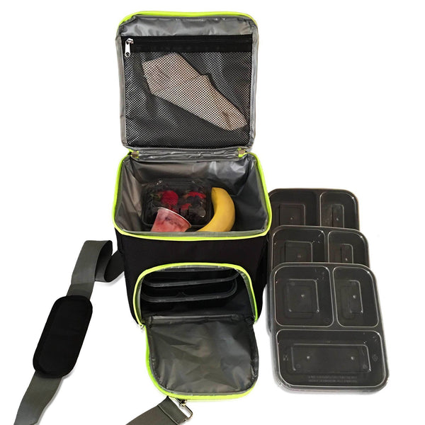 Meal Management Bag System Lunch Bag Isolated 3 meal containers with bottle and reusable ice pack