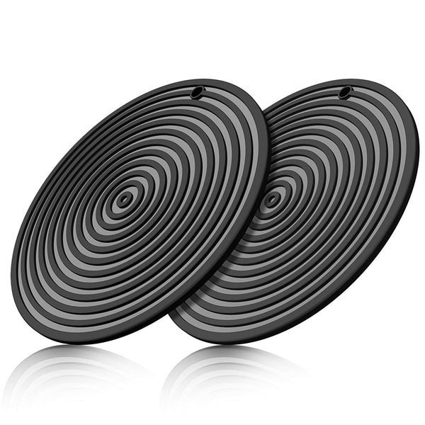 ME.FAN 11'' Large Silicone Ripple Trivet Mat, Potholder, Hot Pad, Spoon Rest, Jar Opener & Coaster, Heat Resistant up to 480F, Flexible, Durable & Non Slip (Black, Set of 2)