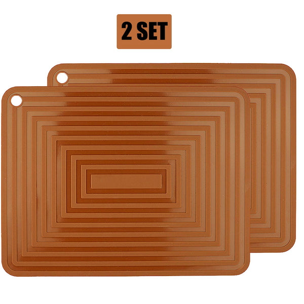"2 Pack Silicone Trivet Mats/Hot Pads,Pot Holder,9""x12"" Non Slip Flexible Durable Heat Resistant Pot Coaster Kitchen Table Mats (Coffee)"