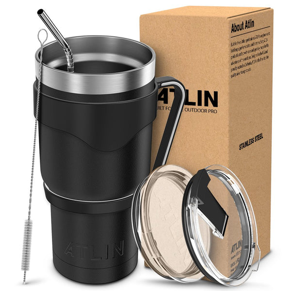 Atlin Tumbler [30 oz. Double Wall Stainless Steel Vacuum Insulation] Travel Mug [Crystal Clear Lid] Water Coffee Cup [Straw + Handle Included] for Home, Outdoor, Office, School,Ice Drink,Hot Beverage