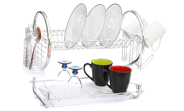 Modern Kitchen Chrome Plated 2-Tier Dish Drying Rack and Draining Board - Organized Utensil Holder, Mug Dryer, Fits Large Plates, Travel Mugs, and Baking Accessories - Quick Dry with Drip Tray