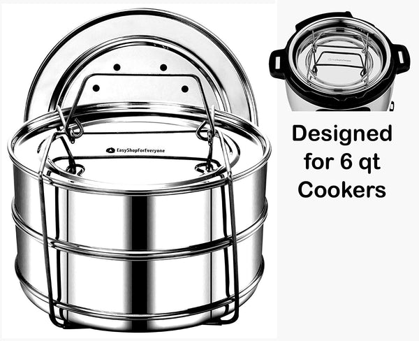 EasyShopForEveryone 2-Tier Stackable Steamer Insert Pans compatible with Instant Pot Accessories/Fits Pressure Cooker 5 & 6 qt