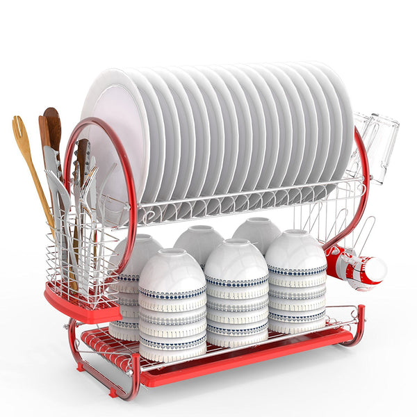 Anfan 2-Tier Dish Rack,Stainless Steel Dish Drying Rack with Draining Tray-Silver(US Stock)