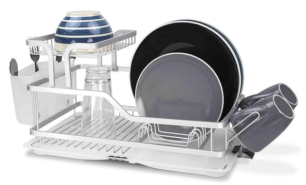Home Basics DD44560 2-Tier Aluminum Dish Drying Storage Rack with Utensil Holder, Cup Holder & Draining Tray for Kitchen Countertop Sink