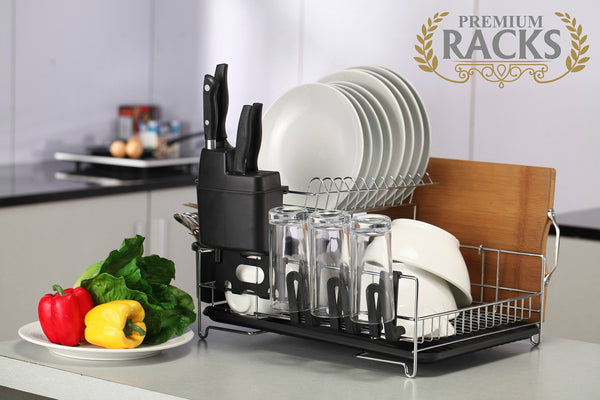 PremiumRacks Professional Dish Rack - 316 Stainless Steel - Fully Customizable - Microfiber Mat Included - Modern Design - Large Capacity