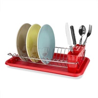 Home Basics Chrome Steel/Plastic Compact Dish Drainer, Air Drying and Organizing Dishes, Side Mounted Cutlery Holder, Red