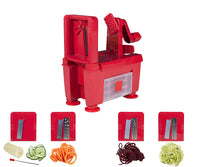 Paderno World Cuisine 4-Blade Folding Vegetable Slicer / Spiralizer Pro, Counter-Mounted and includes 4 Different Stainless Steel Blades, Red