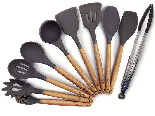 10 Pcs/Set Silicone Kitchen Utensils Set With Beech Wood Handle Cooking Utensils, BPA free (10Set Kitchen Utensil)