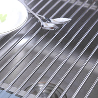 ArtKitchen Dish Drying Rack Over the Sink Roll-up Stainless Steel Kitchen Drainer Rack, Multipurpose Drain Drying Rack, Organizer, Gadgets, Gray