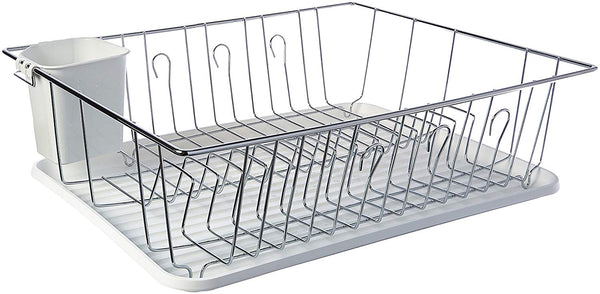 Mega Chef Single Level Dish Rack with 14 Plate Positioners and A Detachable Utensil Holder, White