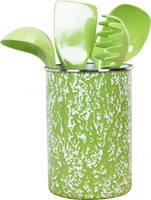 Calypso Basics by Reston Lloyd Enamel on Steel Utensil Holder and 5 Piece Utensil Set (Lime Marble)