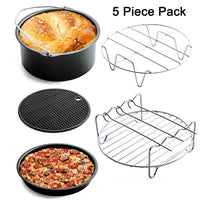 Universal 5 Piece Air Fryer Accessory Pack for Gowise Phillips or More Brand Air Fryer Accessories Kit of 5 Fit all 3.7QT-5.3QT-5.8QT-Cake Barrel,Pizza Pan,Metal Holder,Skewer Rack,Silicone Mat