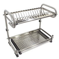 Probrico Dish Rack 2-Tier #304 Stainless Steel Dry Shelf Kitchen Dishes Bowls Holder Tidy Stacking Shelf 23.6 Inch Width