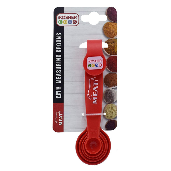 Meat Red Measuring Spoons - 5 Piece Set for Precise Cooking and Baking - Stackable Nesting Design - Color Coded Kitchen Tools by The Kosher Cook