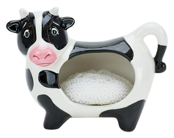 Boston Warehouse Udderly Cow Scrubby Holder With Non-Scratch Scrubber, Hand Painted Ceramic