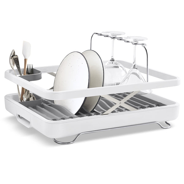 Latest kohler k 8631 0 large collapsible storable dish drying rack with wine glass holder and collapsible utensil band even made to hold pots and pans white