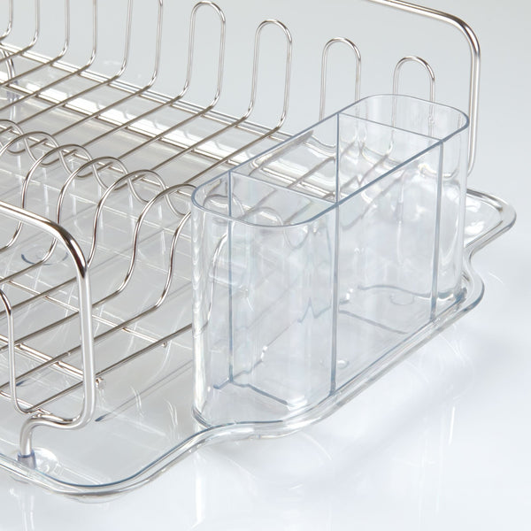 InterDesign Forma Lupe Kitchen Large Capacity Dish Drainer Rack with Drip Tray for Drying Glasses, Silverware, Cookware, Plates – Pack of 4, Stainless Steel/Clear