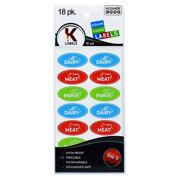 18 Assorted Kosher Labels -6 Blue Dairy, 6 Red Meat, 6 Green Parve Stickers -Oven Proof up to 500°, Freezable, Microwavable, Dishwasher Safe, English – Color Coded Kitchen Tools by The Kosher Cook