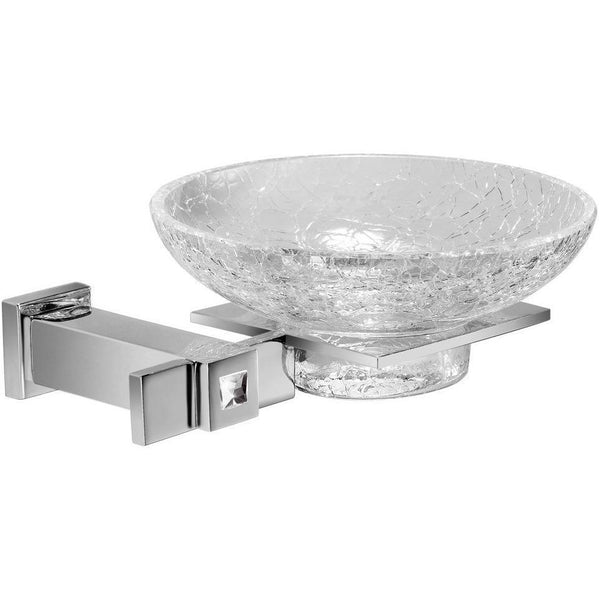 Moonlight Wall Crackled Glass Soap Dish Holder W/ Swarovski Crystal - Chrome