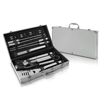 BBQ Grill Utensil Cook Set - 17 Piece Stainless Steel Outdoor Barbecue Grilling Accessory Tool Kit with Portable Storage Case - Cooking Spatula and Cleaning Brush - NutriChef PSLBBQKIT40