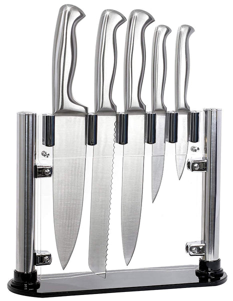"6 Piece Knife Set with Clear Thin Stand by El Perfecto Kitchen Stainless Steel Blades & Acrylic Stand – 8"" Chef, Slicing, & Bread, 5"" Utility, & 3.5"" Paring Knives + 30 Day Guarantee"