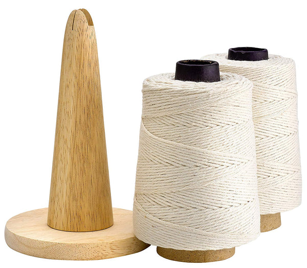 500 Feet Cooking Twine with Non-Slip Portable Wood Holder and Cutting Blade – 100% Cotton Materials – Ideal for DIY Crafts and Food Packaging – Professional Chef Grade Butchers Meat Strings