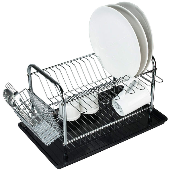Chrome-Plated Metal 2-Tier Dish Drying Rack set with Drainboard, Mug Hooks and Utensil Holder