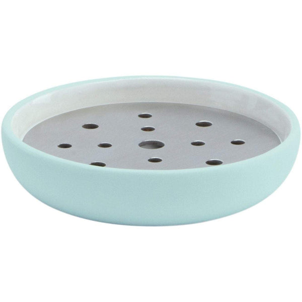 Cleo Round Ceramic Soap Dish Holder Tray, Soap Saver with Stainless Steel Drain