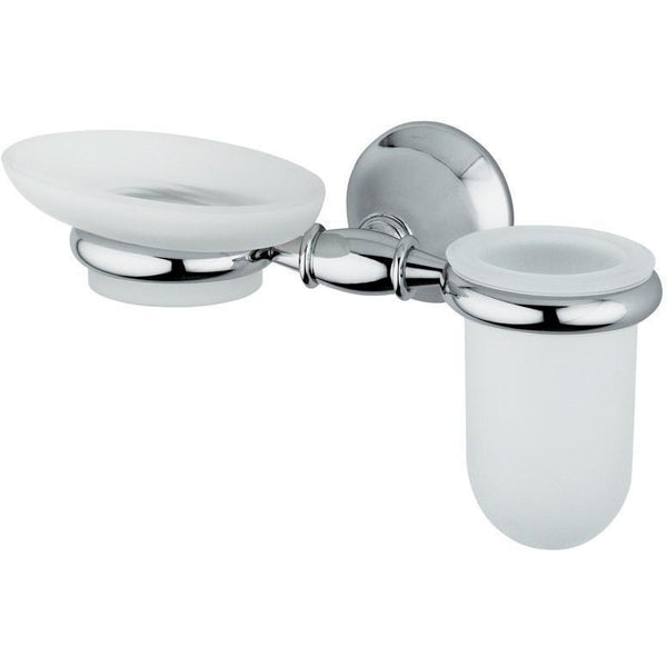 BA Tempo Wall Mounted Frosted Glass Soap Dish Holder & Tumbler Set - Brass