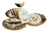 "Ebros Ariel Mermaid with Three Golden Clam Shells Jewelry Dish Holder Figurine 9"" L Art Nouveau Decor"