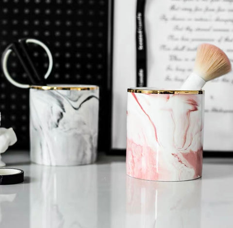 Aesthetic Marble Brush Holder