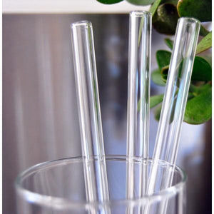 Clear Glass Straws (set of 6)