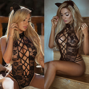 2018 New Sexy Lingerie Hot Black  Women Teddy Lingerie Cosplay Cat Uniform