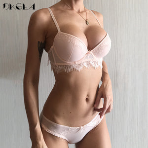7ccfd5d85 2018 New Top Push-up Bra Panties Sets Lace Lingerie 3 4 Cup Brassiere