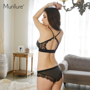 Underwear deep V-neck lace sexy bra set seamless thin cup bra wireless thin set