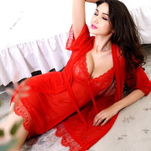 Load image into Gallery viewer, Ladies Lace Transparent Erotic Lingerie Conjoined Dress Suit
