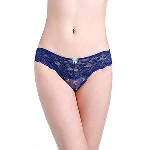 Sexy Lace Women Dark Blue Flowers G strings