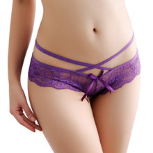 Load image into Gallery viewer, G String Lace Bowknot Panties Low-rise Breathable Underwear Transparent
