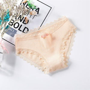Sexy Lace Panties Women's Cotton Underwear Seamless Cute Bow Girls Briefs