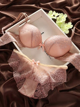 Load image into Gallery viewer, Explosion models Fashion lace sexy thin deep V-neck push up underwear hot-selling vintage solid color bra set