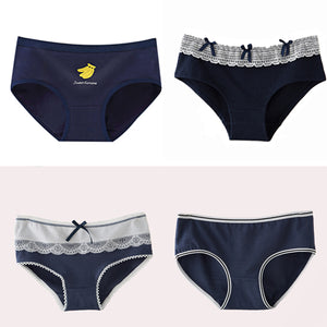 4pcs/lot Women's Panties Cotton Lace edge Briefs Female Underwear