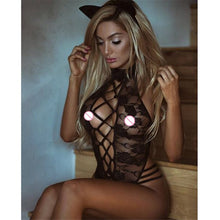Load image into Gallery viewer, 2018 New Sexy Lingerie Hot Black  Women Teddy Lingerie Cosplay Cat Uniform