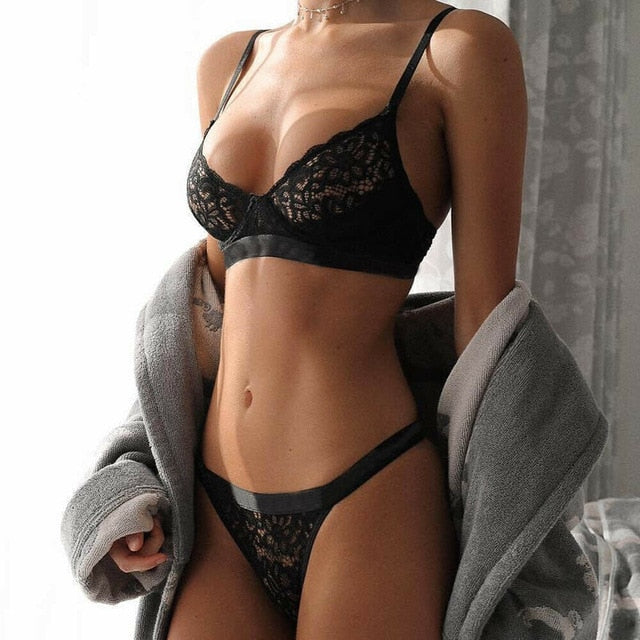 651379ded New Women Sexy Lingerie Embroidery Lace Push-up Bra+G-string Set ...