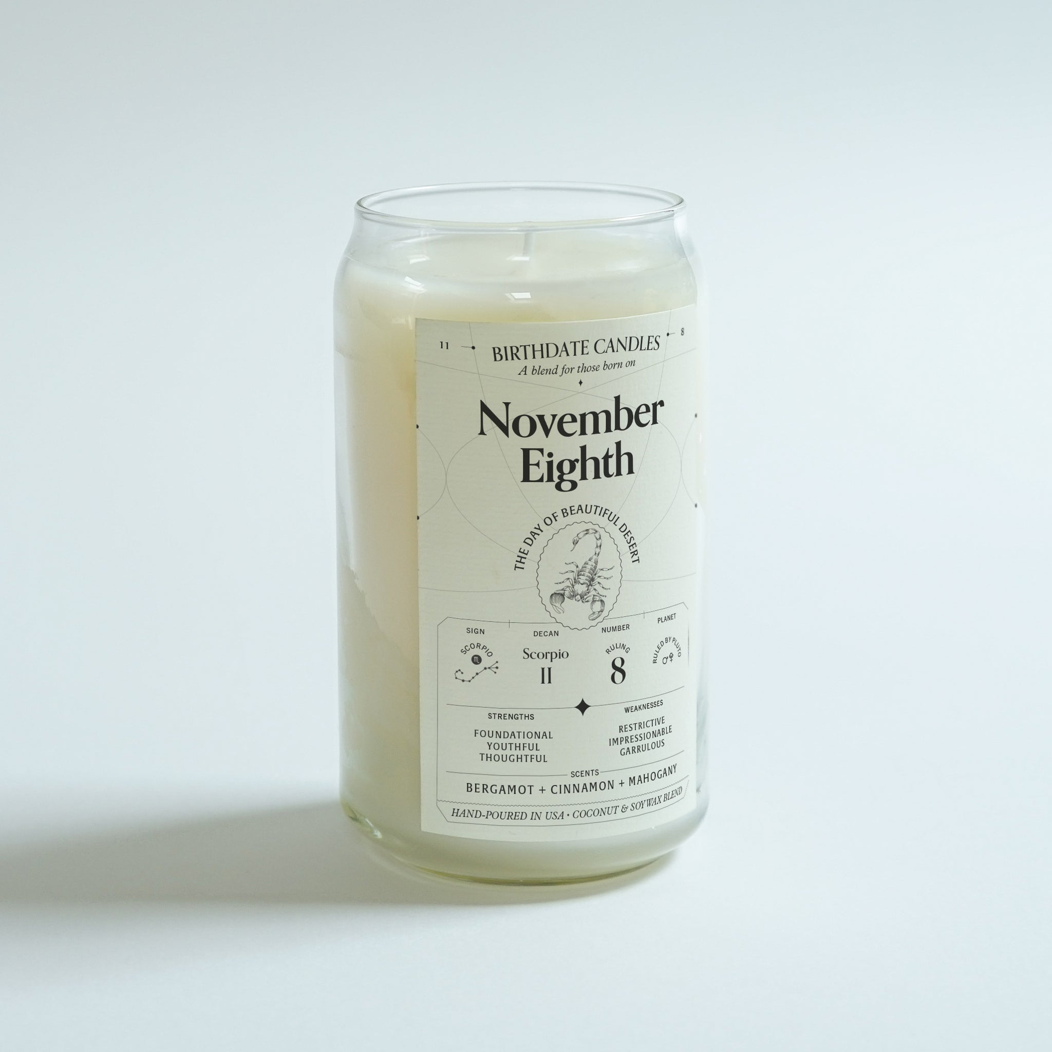 The November Eighth Birthday Candle